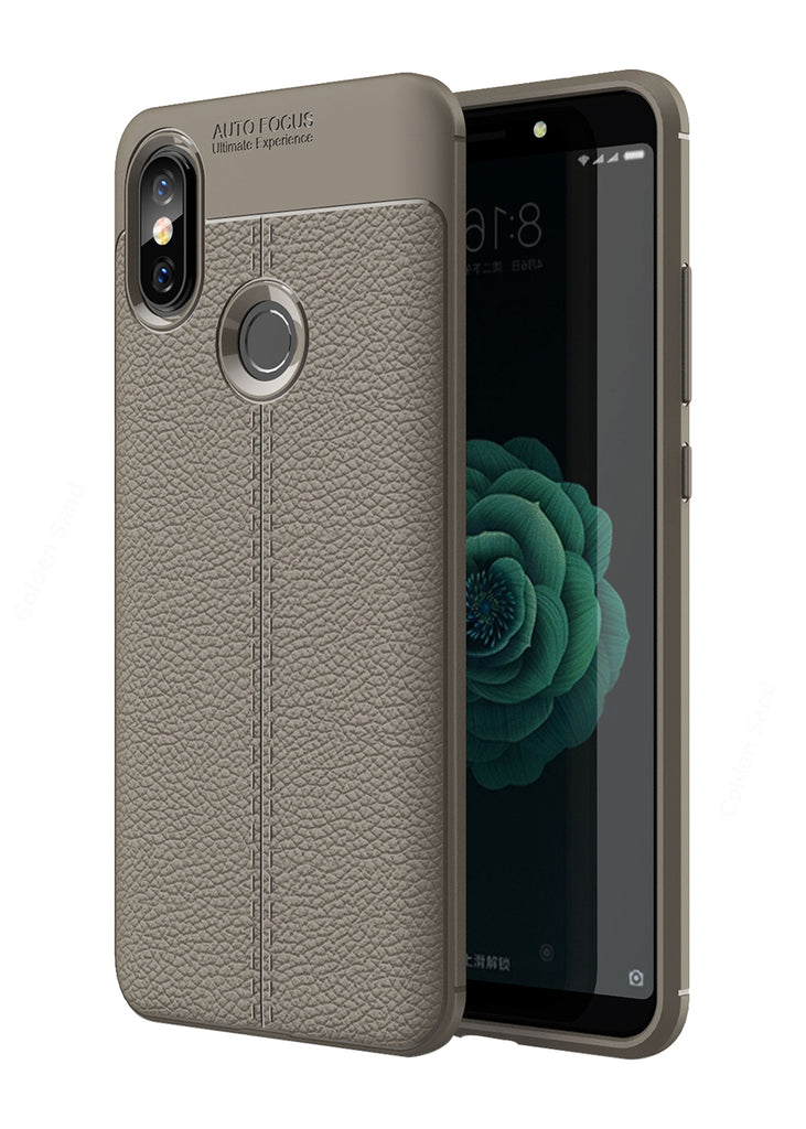 Back Cover, Drop Tested, TPU (Rubber), Grey, Leather, Mi A2, , Xiaomi, Leather Armor TPU, ₹500 - ₹699, Solid, Slim Design