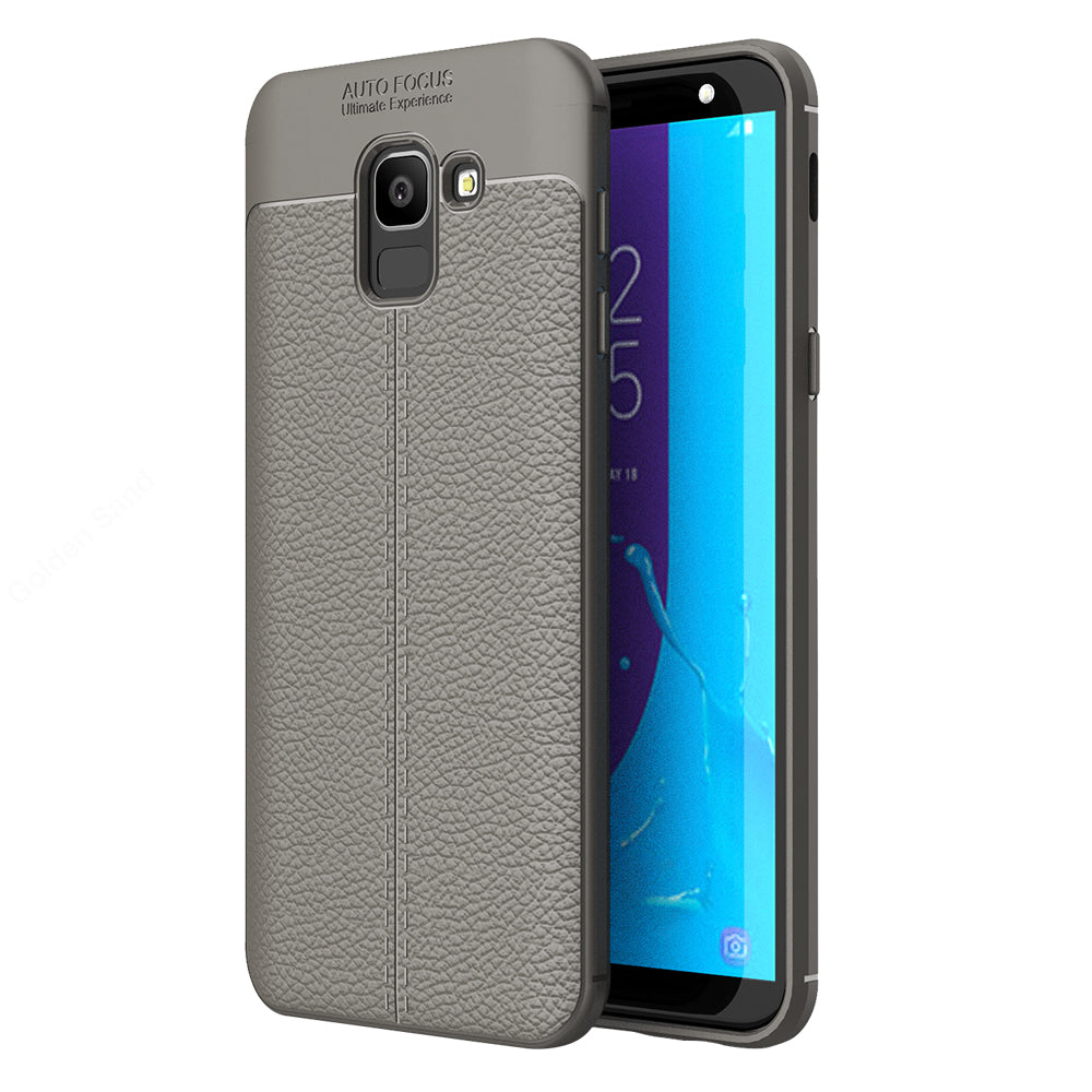 Back Cover, Drop Tested, TPU (Rubber), Galaxy J6, Galaxy J6 2018, Grey, Leather, Leather Armor TPU, ₹500 - ₹699, Solid, Slim Design, , samsung, Galaxy On 6