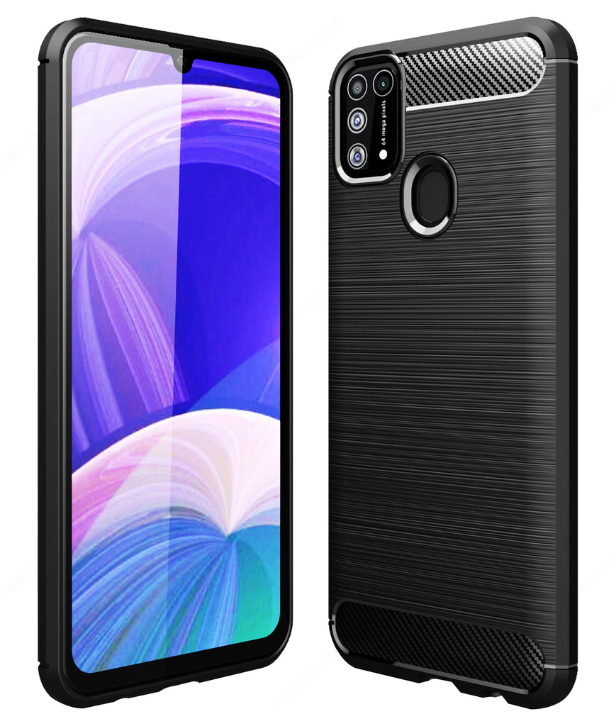 Back Cover, Drop Tested, TPU (Rubber), black, Carbon Fibre, Solid, Slim Design, Galaxy M31, ₹0 - ₹499, samsung