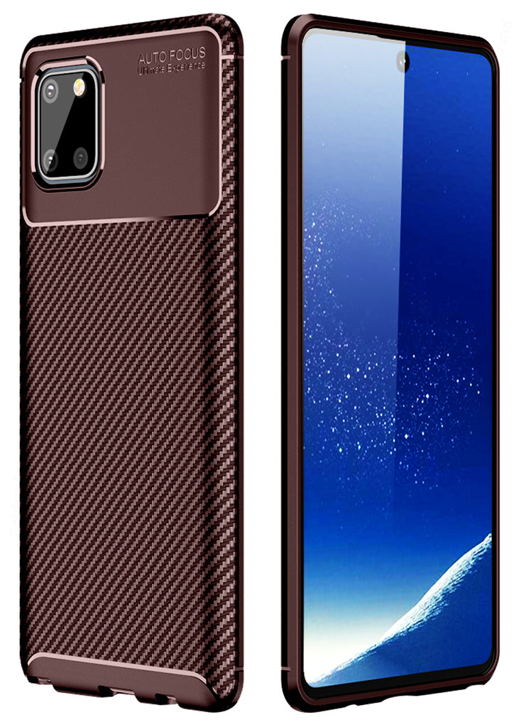Aramid Fibre Series Shockproof Armor Back Cover for Samsung Galaxy Note 10 Lite 6.7 inch, Brown