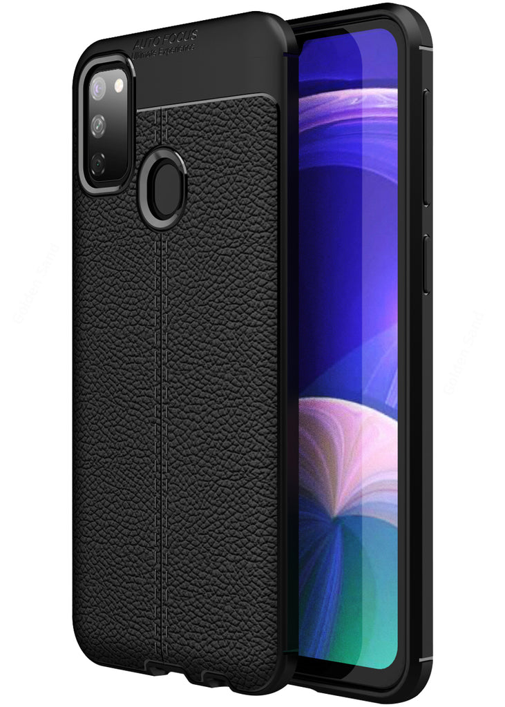 Leather Armor TPU Series Shockproof Armor Back Cover for Samsung Galaxy M21, M30s 6.4 inch, Black