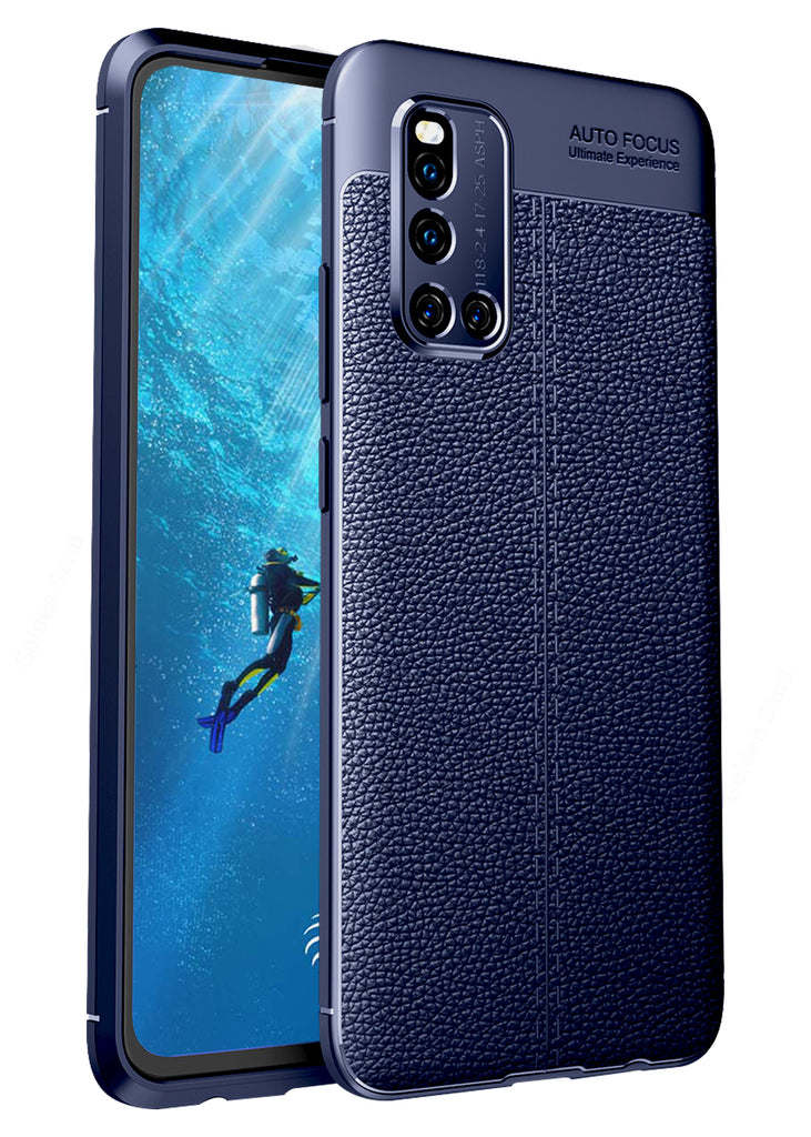 Back Cover, Drop Tested, TPU (Rubber), blue, Leather, Leather Armor TPU, ₹500 - ₹699, Solid, Slim Design, , vivo, vivo v19