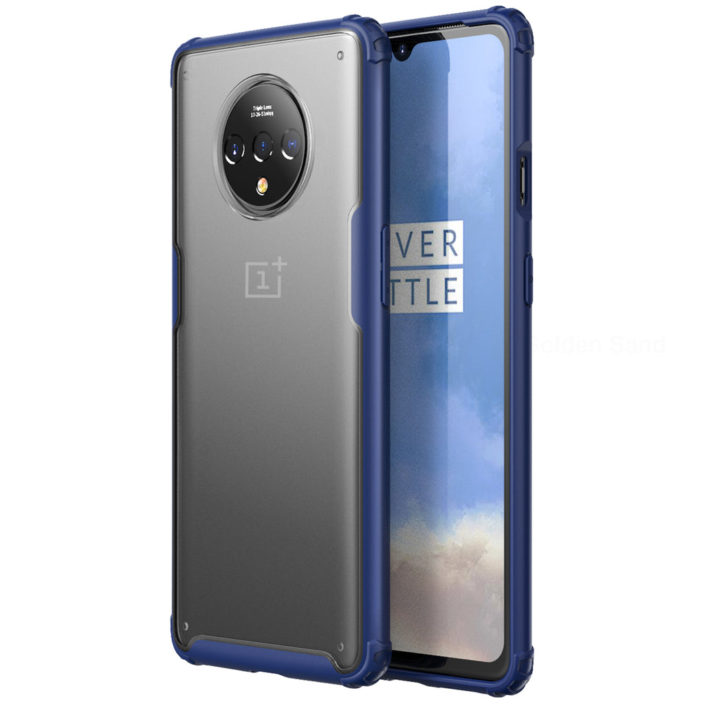 Back Cover, Drop Tested, TPU (Rubber), blue, oneplus, oneplus 7T, Rugged Frosted, ₹500 - ₹699, PolyCarbonate (Plastic), Slim Design, translucent, Oneplus 7