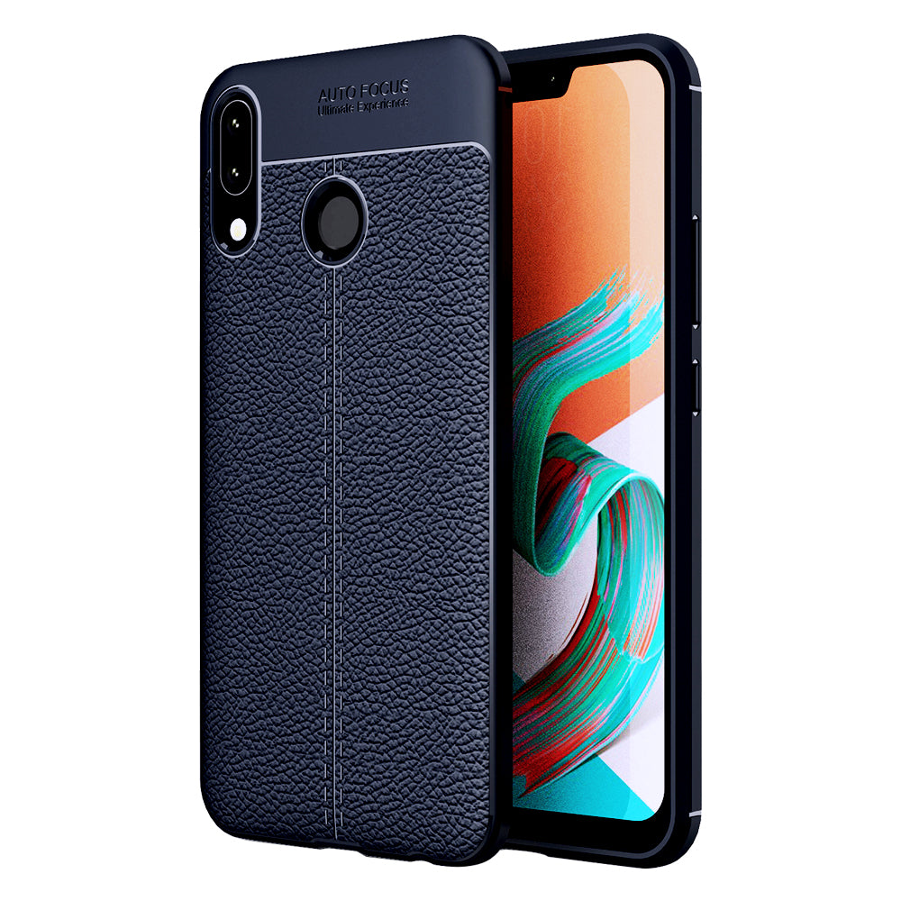 Asus, Back Cover, Drop Tested, TPU (Rubber), blue, Leather, Leather Armor TPU, ₹500 - ₹699, Solid, Slim Design, , Zenfone 5Z