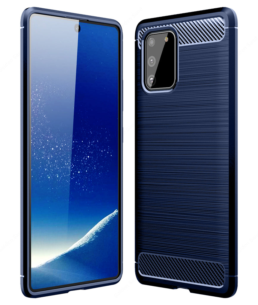 Carbon Fibre Series Shockproof Armor Back Cover for Samsung Galaxy S10 Lite 6.7 inch, Blue