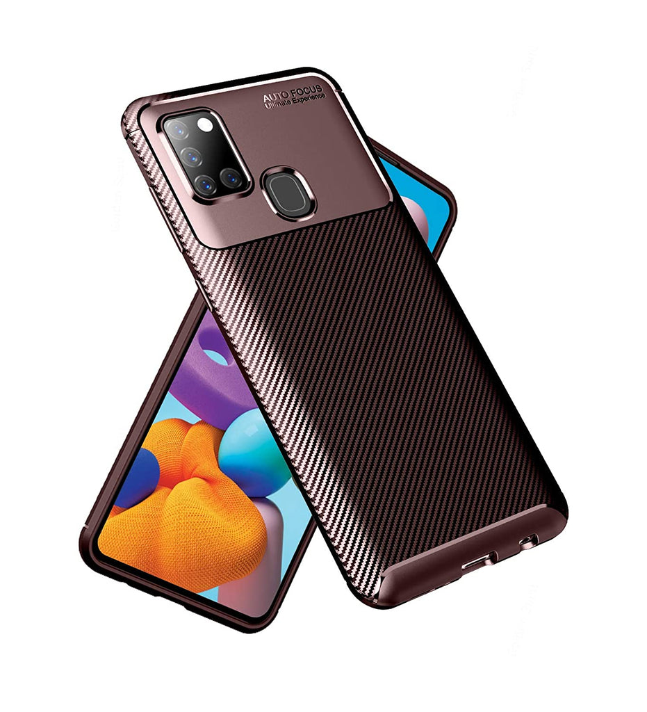 Aramid Fibre Series Shockproof Armor Back Cover for Samsung Galaxy A21s 6.5 inch, Brown