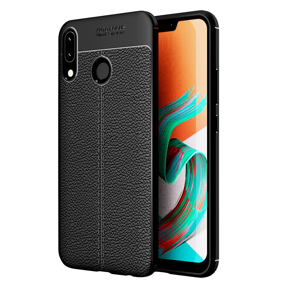 Asus, Back Cover, Drop Tested, TPU (Rubber), black, Leather, Leather Armor TPU, ₹500 - ₹699, Solid, Slim Design, , Zenfone 5Z