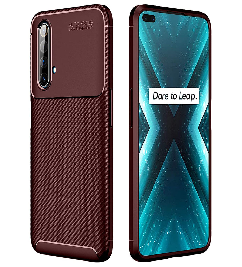 Aramid Fibre Series Shockproof Armor Back Cover for Realme X3, Realme X3 Super Zoom 6.6 inch, Brown