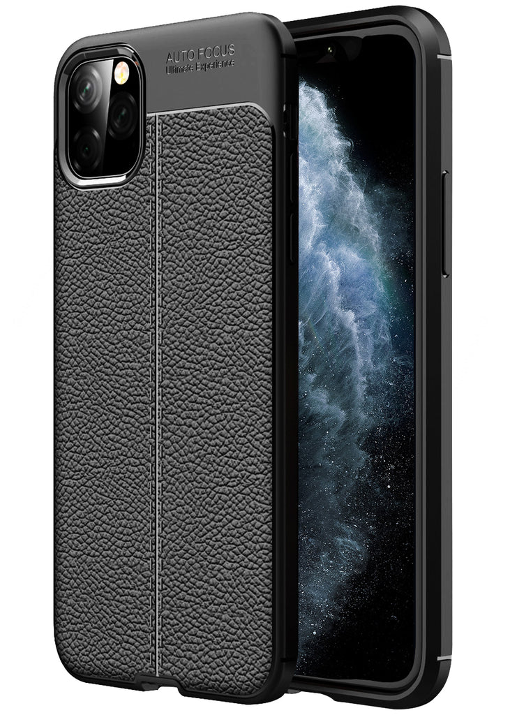 Leather Armor TPU Series Shockproof Armor Back Cover for Apple iPhone 11 Pro Max 6.5 inch, Black