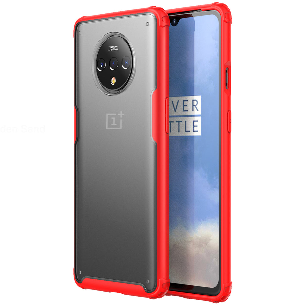 Back Cover, Drop Tested, TPU (Rubber), oneplus, oneplus 7T,  ₹500 - ₹699, red, rugged frosted, PolyCarbonate (Plastic), Slim Design, translucent, Oneplus 7