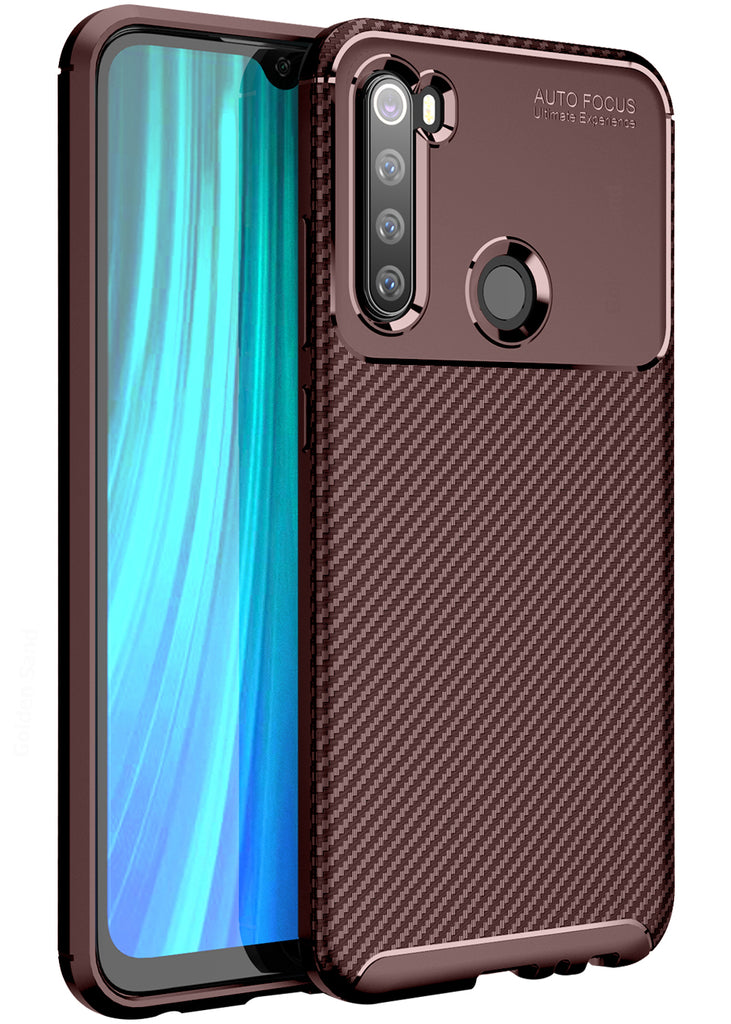 Aramid Fibre Series Shockproof Armor Back Cover for Xiaomi Redmi Note 8 6.3 inch, Brown