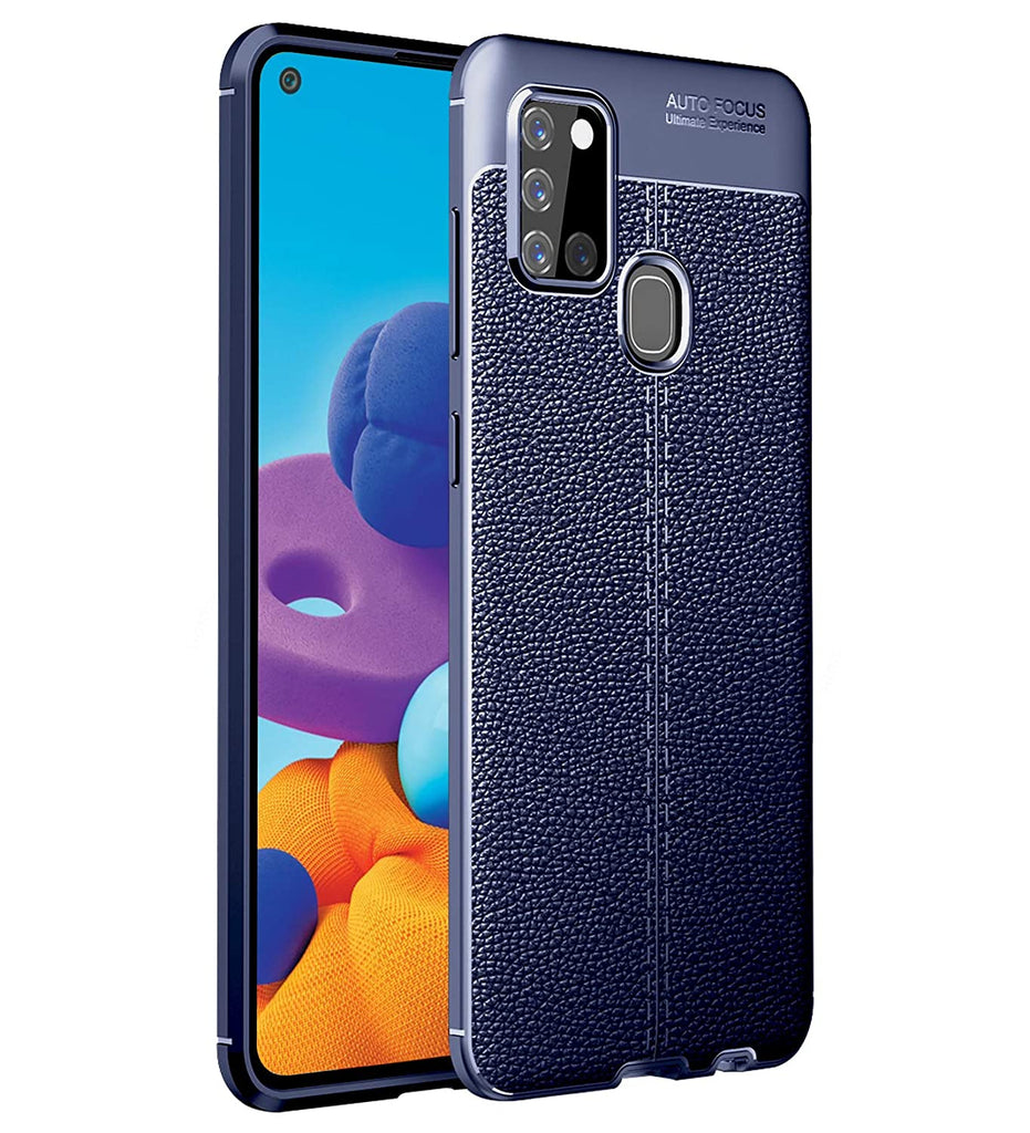 Leather Armor TPU Series Shockproof Armor Back Cover for Samsung Galaxy A21s 6.5 inch, Blue