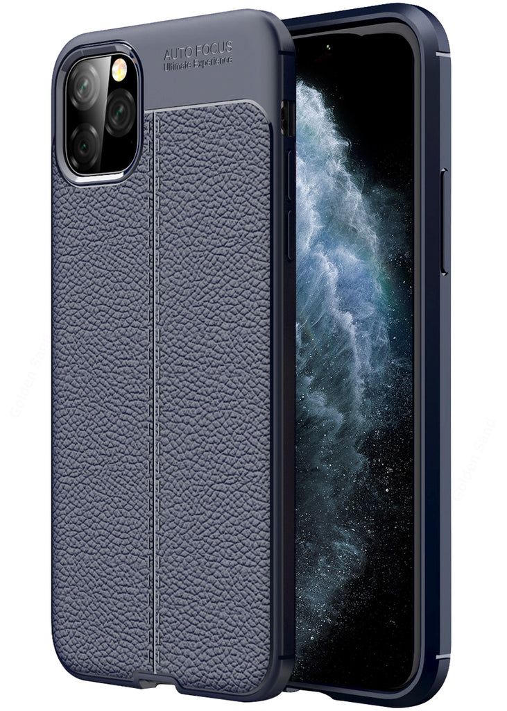 Leather Armor TPU Series Shockproof Armor Back Cover for Apple iPhone 11 Pro Max 6.5 inch, Blue