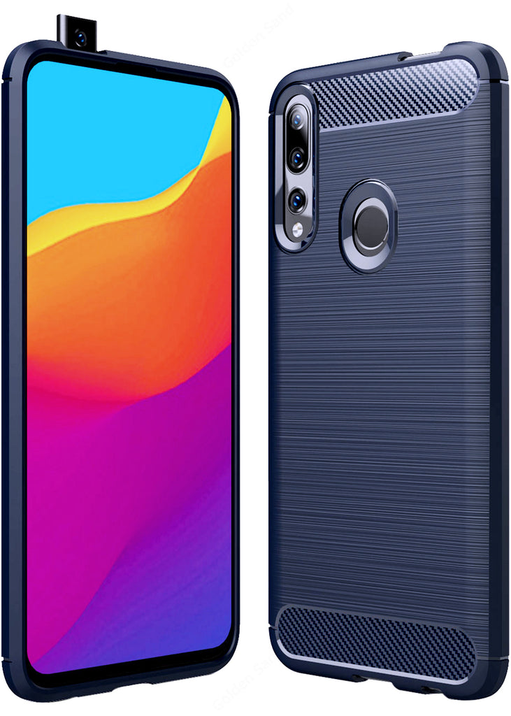 Carbon Fibre Series Shockproof Armor Back Cover for Honor 9X, Huawei Y9 Prime 2019 6.5 inch, Blue