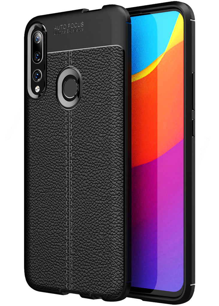 Leather Armor TPU Series Shockproof Armor Back Cover for Honor 9X, Huawei Y9 Prime 2019 6.5 inch, Black