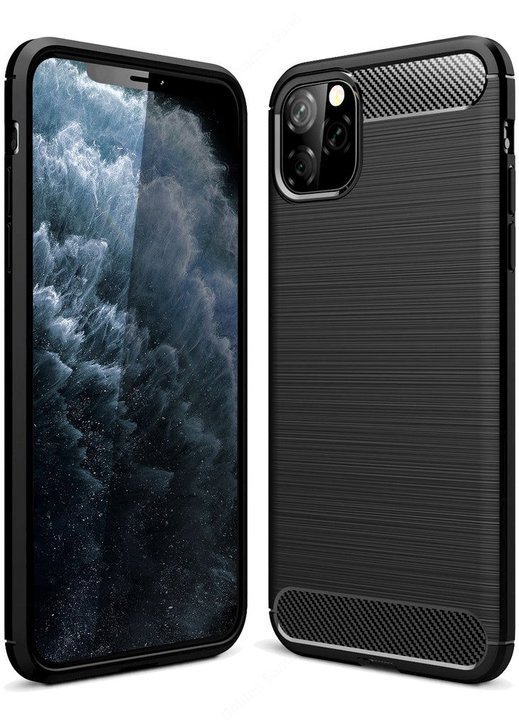 apple, Back Cover, Drop Tested, TPU (Rubber), black, Carbon Fibre, Solid, Slim Design, iphone 11 pro max, ₹0 - ₹499