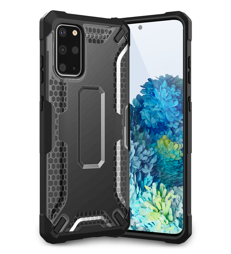 Back Cover, Drop Tested, TPU (Rubber), black, Drop Defense Pro, ₹700 - ₹999, PolyCarbonate (Plastic), Ultra Protection, , s20 plus, samsung, translucent