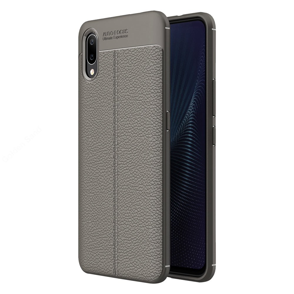 Back Cover, Drop Tested, TPU (Rubber), Grey, Leather, Leather Armor TPU, ₹500 - ₹699, Solid, Slim Design, vivo, Vivo Nex