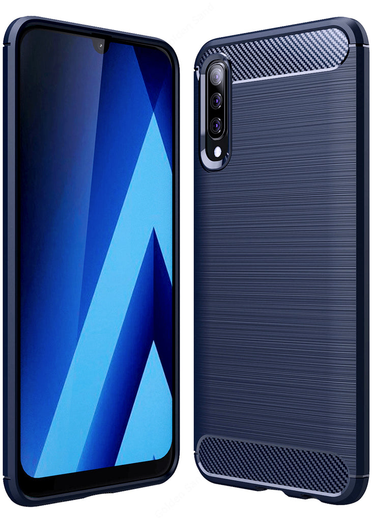 Carbon Fibre Series Shockproof Armor Back Cover for Samsung Galaxy A50s, A50, A30s 6.4 inch, Blue