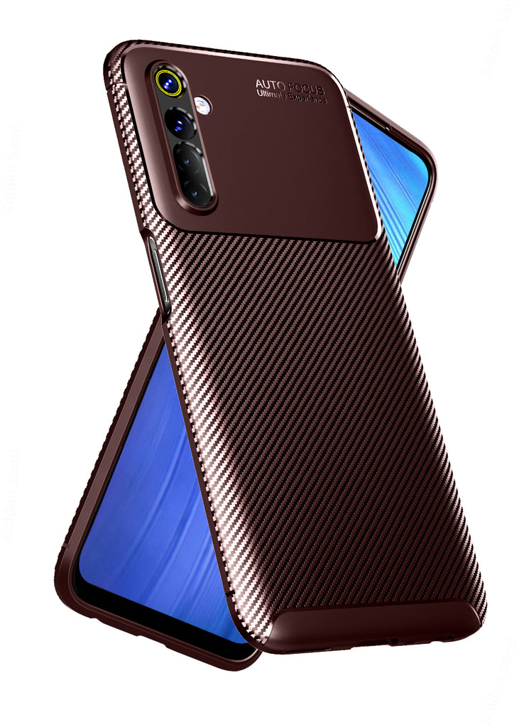 Aramid Fibre, ₹500 - ₹699, Solid, Slim Design, Back Cover, Drop Tested, TPU (Rubber), brown, , realme 6