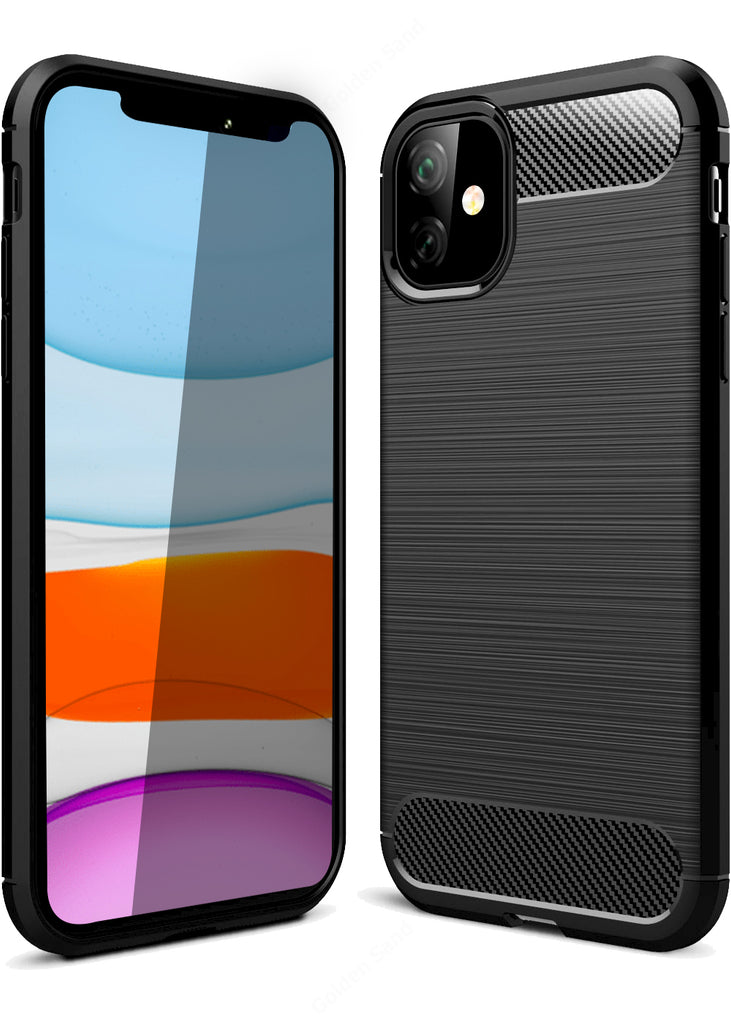 apple, Back Cover, Drop Tested, TPU (Rubber), black, Carbon Fibre, Solid, Slim Design, iPhone 11,  ₹0 - ₹499