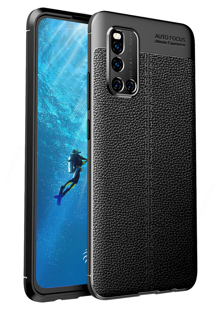 Back Cover, Drop Tested, TPU (Rubber), black, Leather, Leather Armor TPU, ₹500 - ₹699, Solid, Slim Design, , vivo, vivo v19