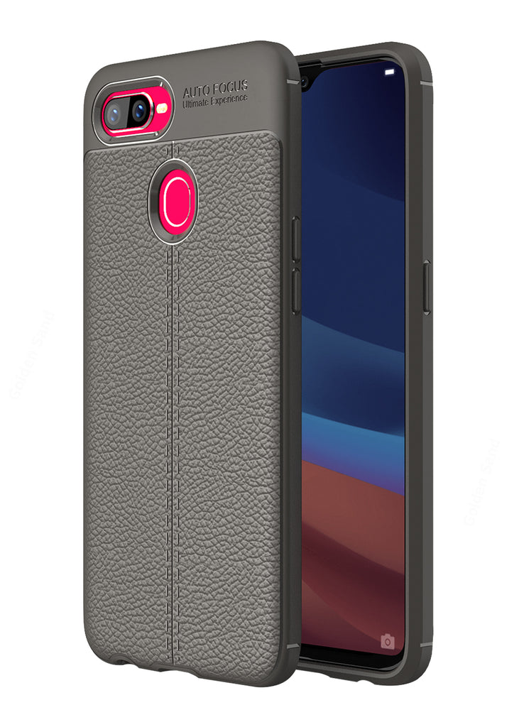 Back Cover, Drop Tested, TPU (Rubber), Grey, Leather, oppo, Oppo F9 Pro, Leather Armor TPU, ₹500 - ₹699, Solid, Slim Design