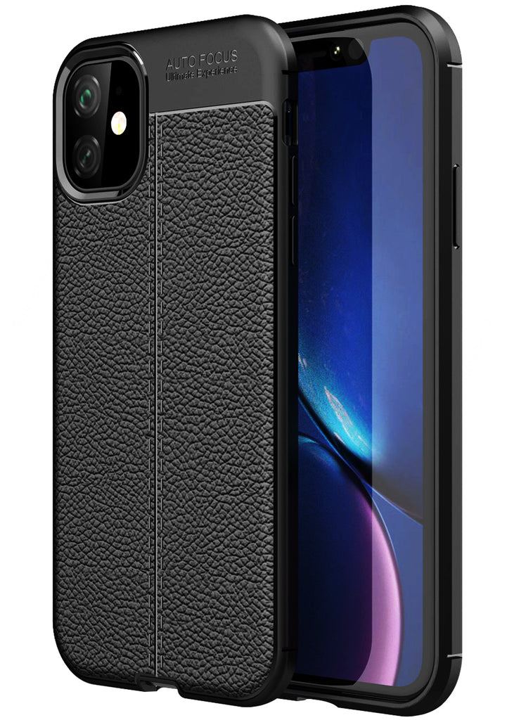 Leather Armor TPU Series Shockproof Armor Back Cover for Apple iPhone 11 6.1 inch, Black