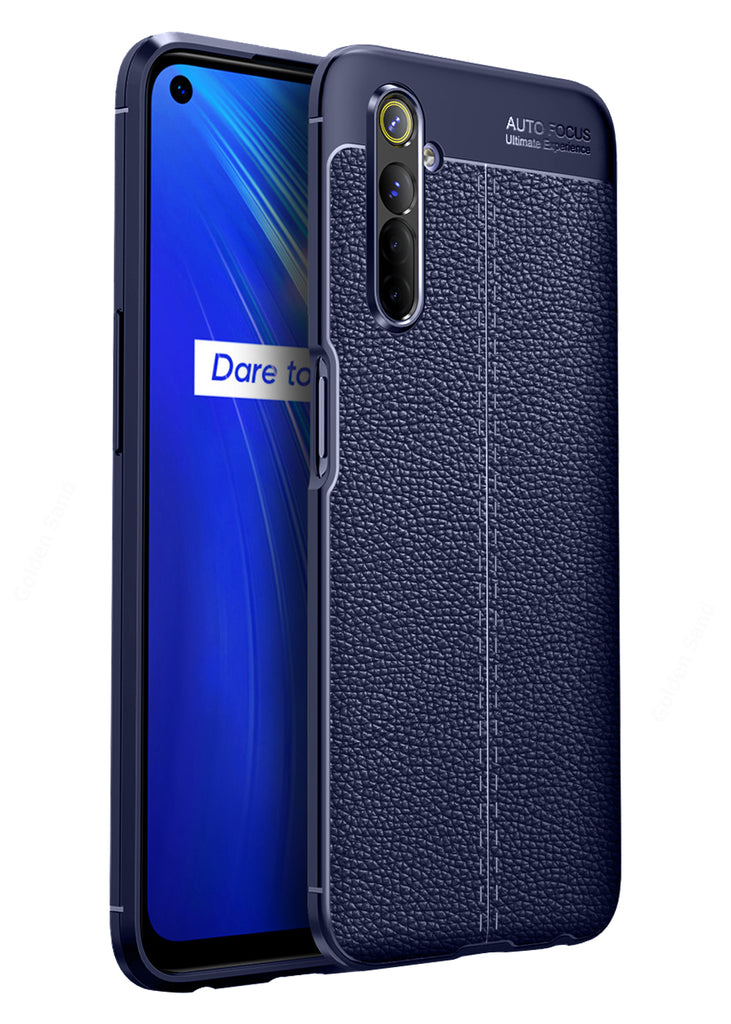 Back Cover, Drop Tested, TPU (Rubber), blue, Leather, Leather Armor TPU, ₹500 - ₹699, Solid, Slim Design, , realme 6