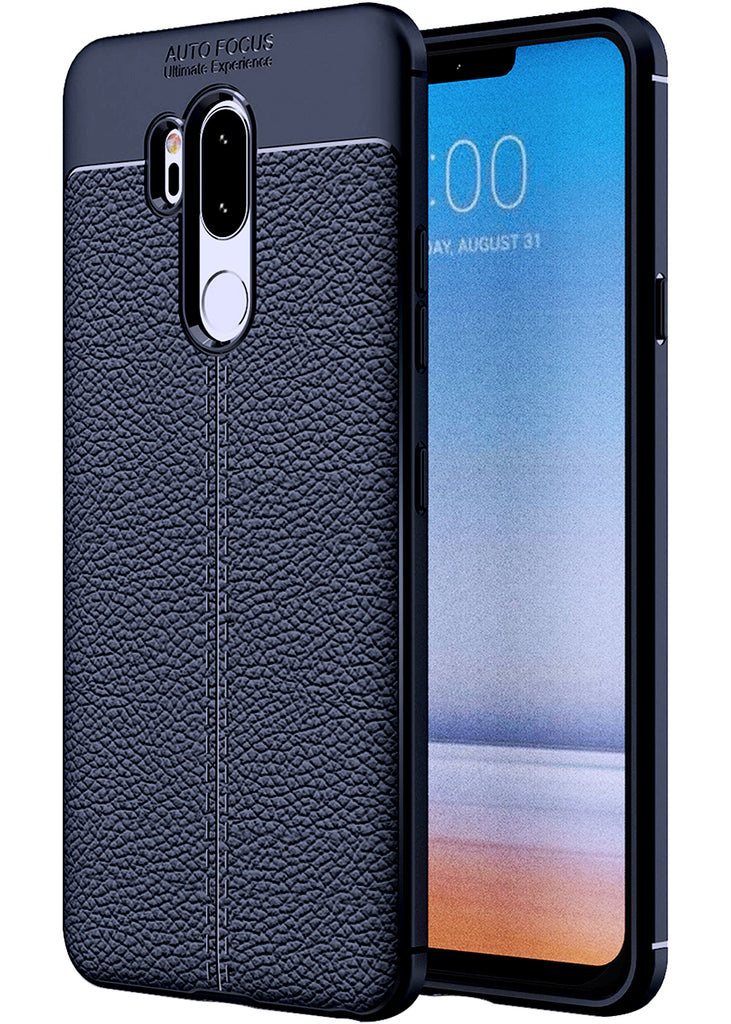 Back Cover, Drop Tested, TPU (Rubber), blue, Leather, LG, LG G7 Thinq, Leather Armor TPU, ₹500 - ₹699, Solid, Slim Design