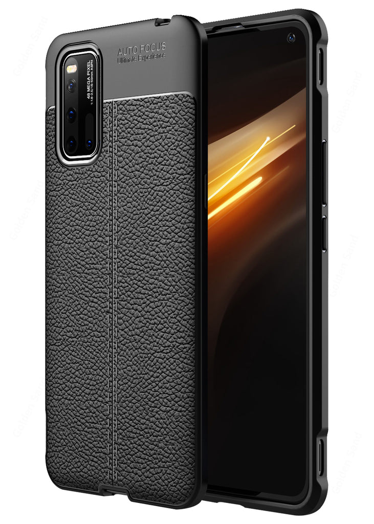 Back Cover, Drop Tested, TPU (Rubber), black, Leather, vivo, vivo iQOO 3, Leather Armor TPU, ₹500 - ₹699, Solid, Slim Design