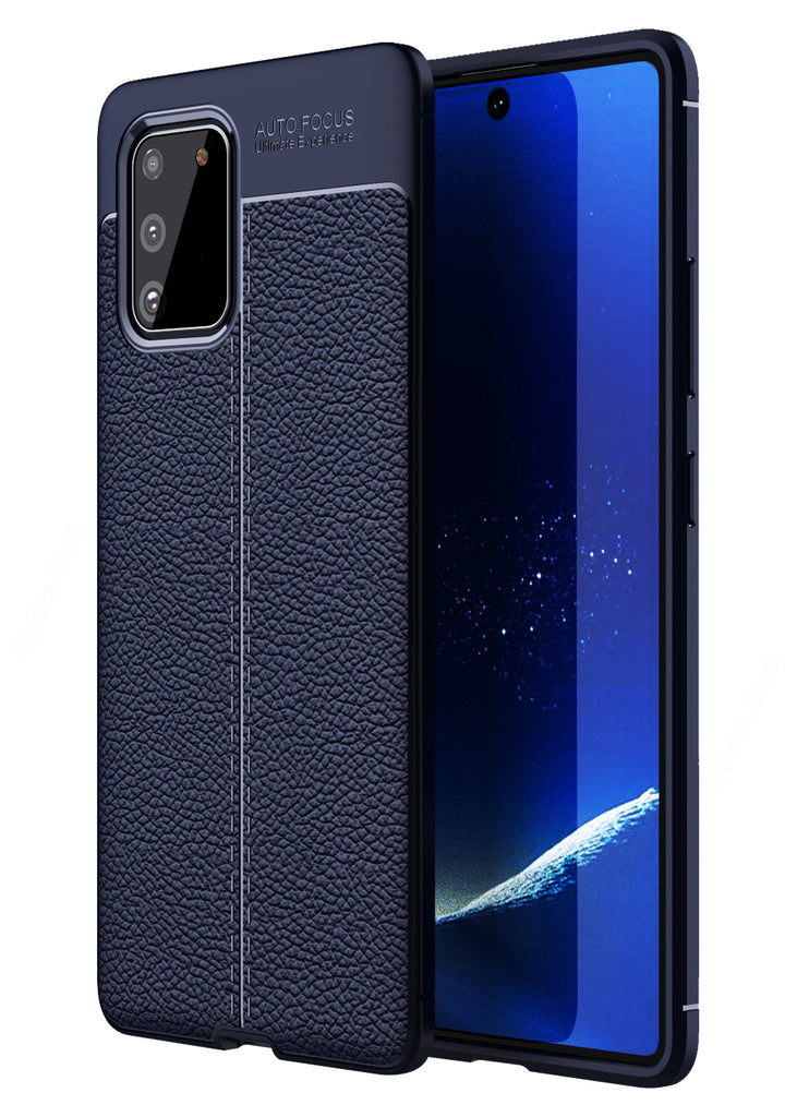 Leather Armor TPU Series Shockproof Armor Back Cover for Samsung Galaxy S10 Lite 6.7 inch, Blue