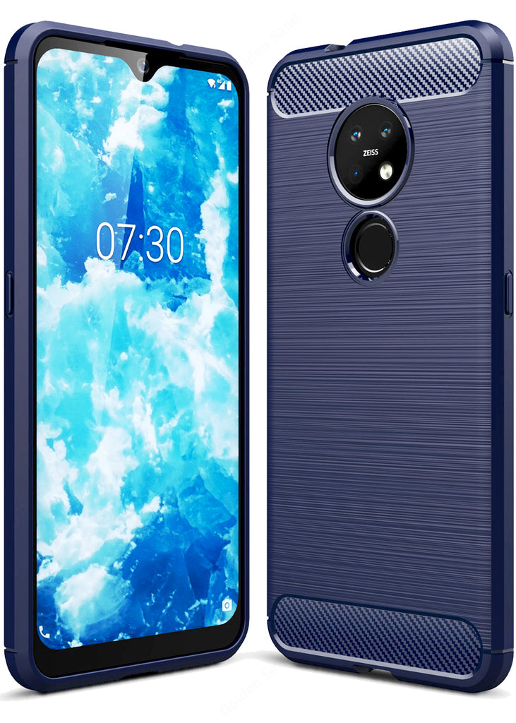 Carbon Fibre Series Shockproof Armor Back Cover for Nokia 7.2, Nokia 6.2 6.39 inch, Blue