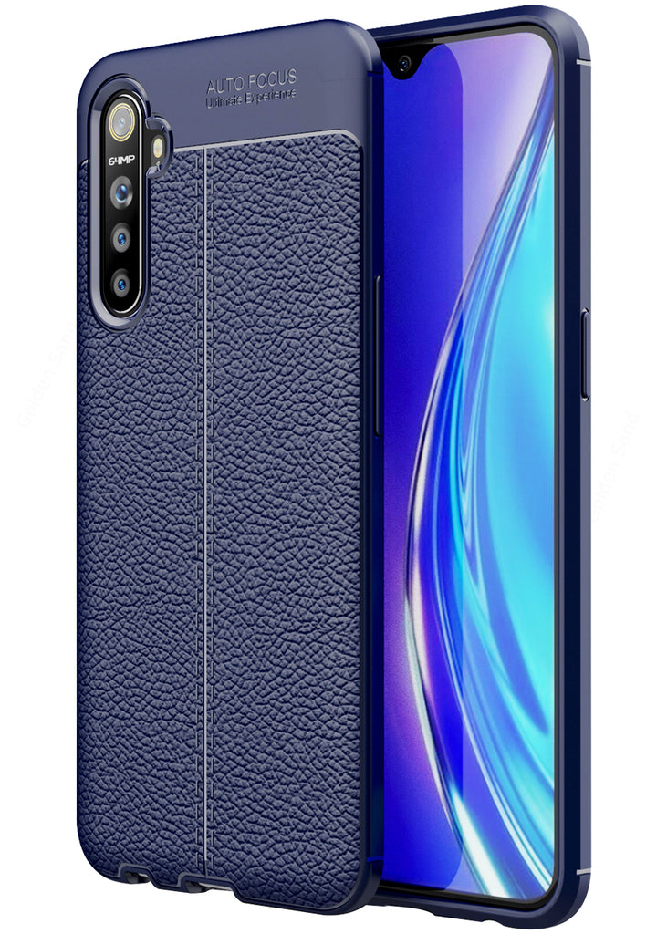 Leather Armor TPU Series Shockproof Armor Back Cover for Realme X2, Realme XT, Oppo K5 6.4 inch, Blue