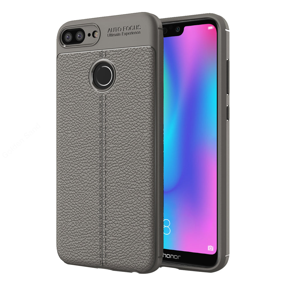 Back Cover, Drop Tested, TPU (Rubber), Grey, Honor 9n, Huawei, Leather, Leather Armor TPU, ₹500 - ₹699, Solid, Slim Design