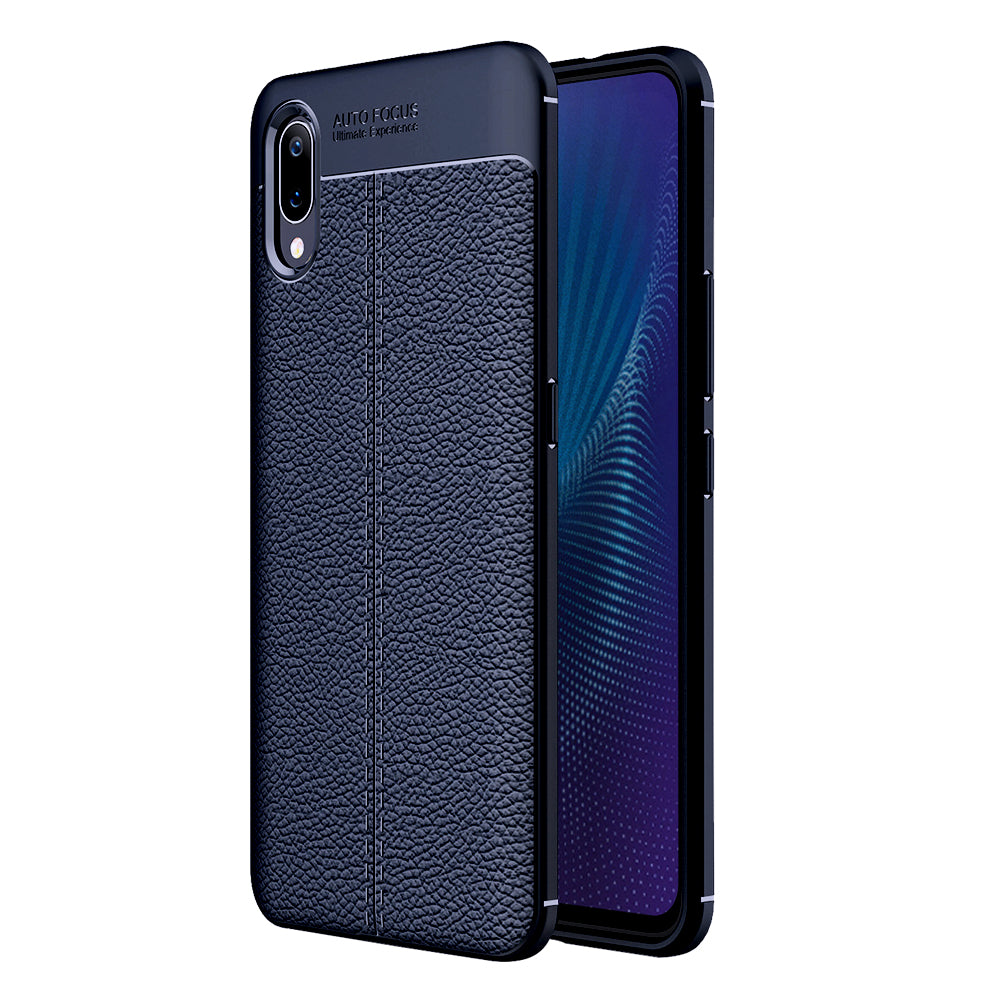 Back Cover, Drop Tested, TPU (Rubber), blue, Leather, Leather Armor TPU, ₹500 - ₹699, Solid, Slim Design, vivo, Vivo Nex