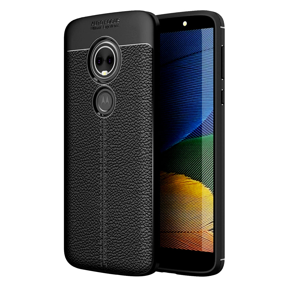Back Cover, Drop Tested, TPU (Rubber), black, Leather, Leather Armor TPU, ₹500 - ₹699, Solid, Slim Design, Moto, Moto G6 Play, Motorola,