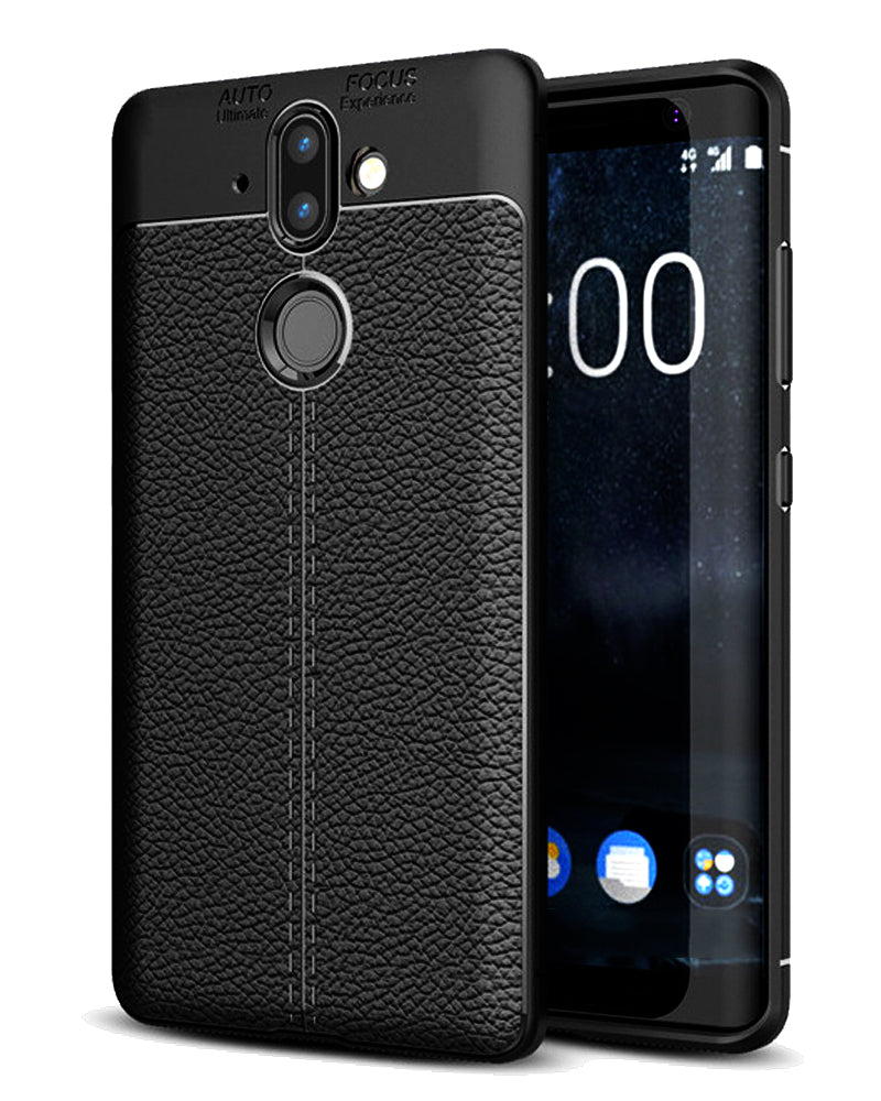 Back Cover, Drop Tested, TPU (Rubber), black, Leather, Nokia, Nokia 8 Sirocco, Leather Armor TPU, ₹500 - ₹699, Solid, Slim Design