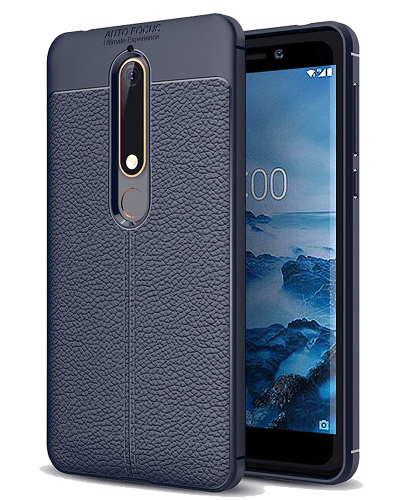 Back Cover, Drop Tested, TPU (Rubber), blue, Leather, Nokia, Nokia 6 2018, Leather Armor TPU, ₹500 - ₹699, Solid, Slim Design