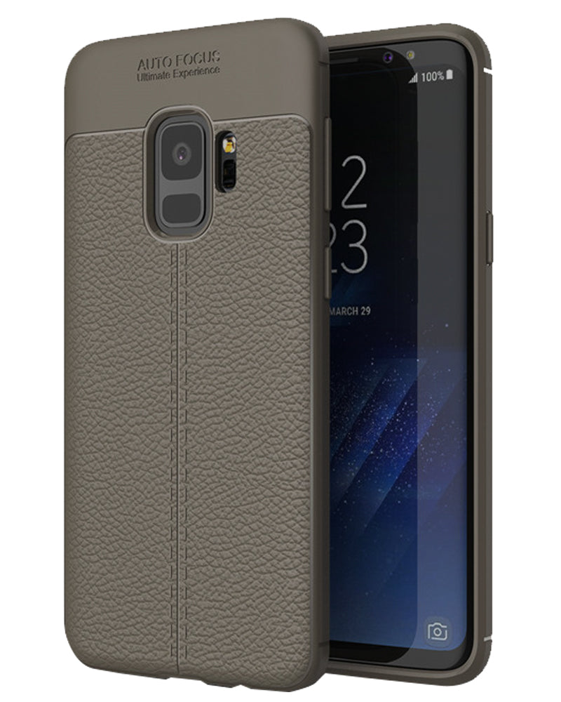 Back Cover, Drop Tested, TPU (Rubber), galaxy S9, Grey, Leather, Leather Armor TPU, ₹500 - ₹699, Solid, Slim Design, , samsung