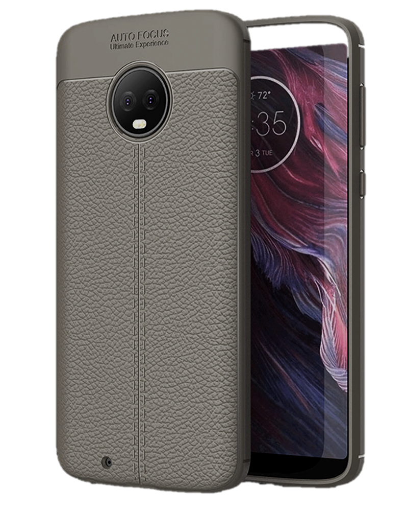 Back Cover, Drop Tested, TPU (Rubber), Grey, Leather, Leather Armor TPU, ₹500 - ₹699, Solid, Slim Design, Moto, Moto G6, Motorola,