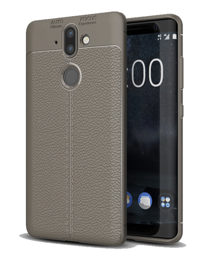 Back Cover, Drop Tested, TPU (Rubber), Grey, Leather, Nokia, Nokia 8 Sirocco, Leather Armor TPU, ₹500 - ₹699, Solid, Slim Design