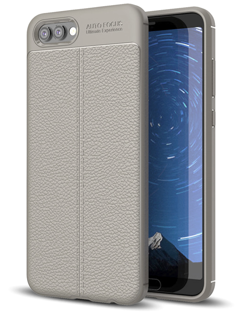 Back Cover, Drop Tested, TPU (Rubber), Grey, Honor V10, Huawei, Leather, Leather Armor TPU, ₹500 - ₹699, Solid, Slim Design