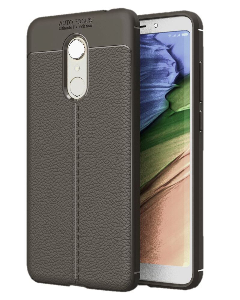 Back Cover, Drop Tested, TPU (Rubber), Grey, Leather, Leather Armor TPU, ₹500 - ₹699, Solid, Slim Design, Redmi Note 5, Xiaomi