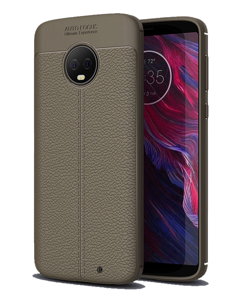 Back Cover, Drop Tested, TPU (Rubber), Grey, Leather, Leather Armor TPU, ₹500 - ₹699, Solid, Slim Design, Moto, Moto G6 Plus, Motorola,