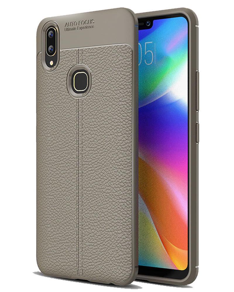Back Cover, Drop Tested, TPU (Rubber), Grey, Leather, Leather Armor TPU, ₹500 - ₹699, Solid, Slim Design, vivo, Vivo V9