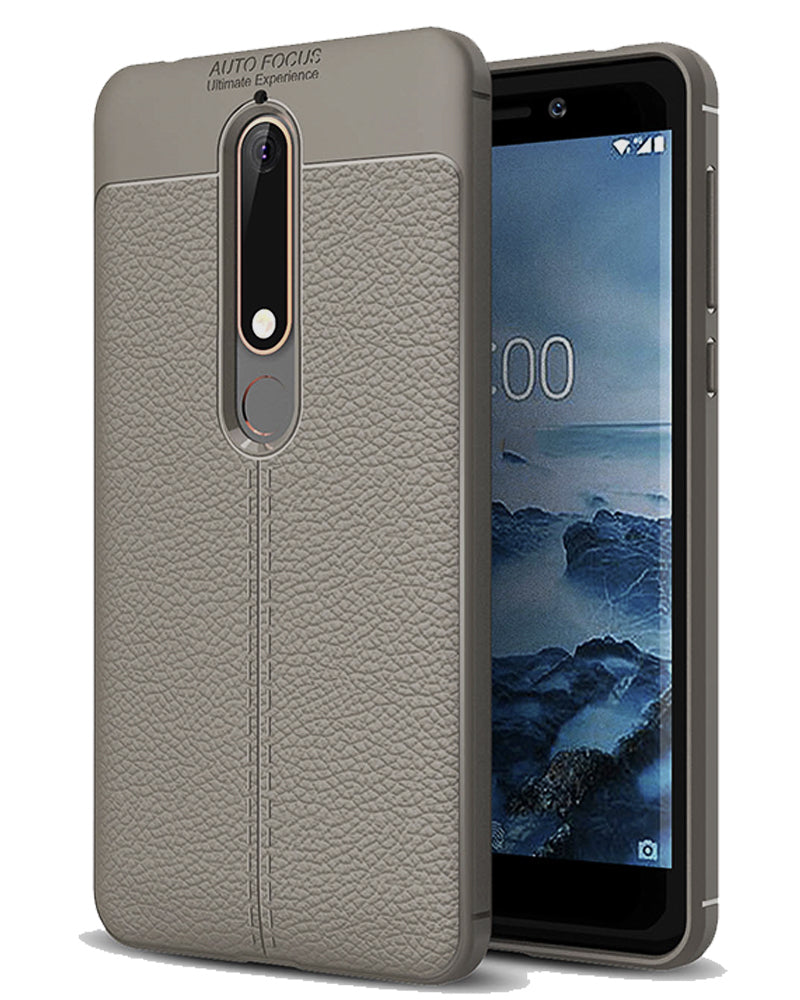 Back Cover, Drop Tested, TPU (Rubber), Grey, Leather, Nokia, Nokia 6 2018, Leather Armor TPU, ₹500 - ₹699, Solid, Slim Design