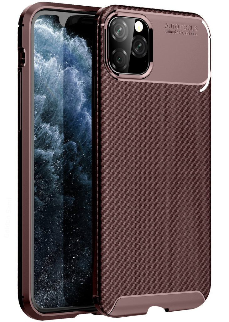 Aramid Fibre Series Shockproof Armor Back Cover for Apple iPhone 11 Pro Max 6.5 inch, Brown - Golden Sand