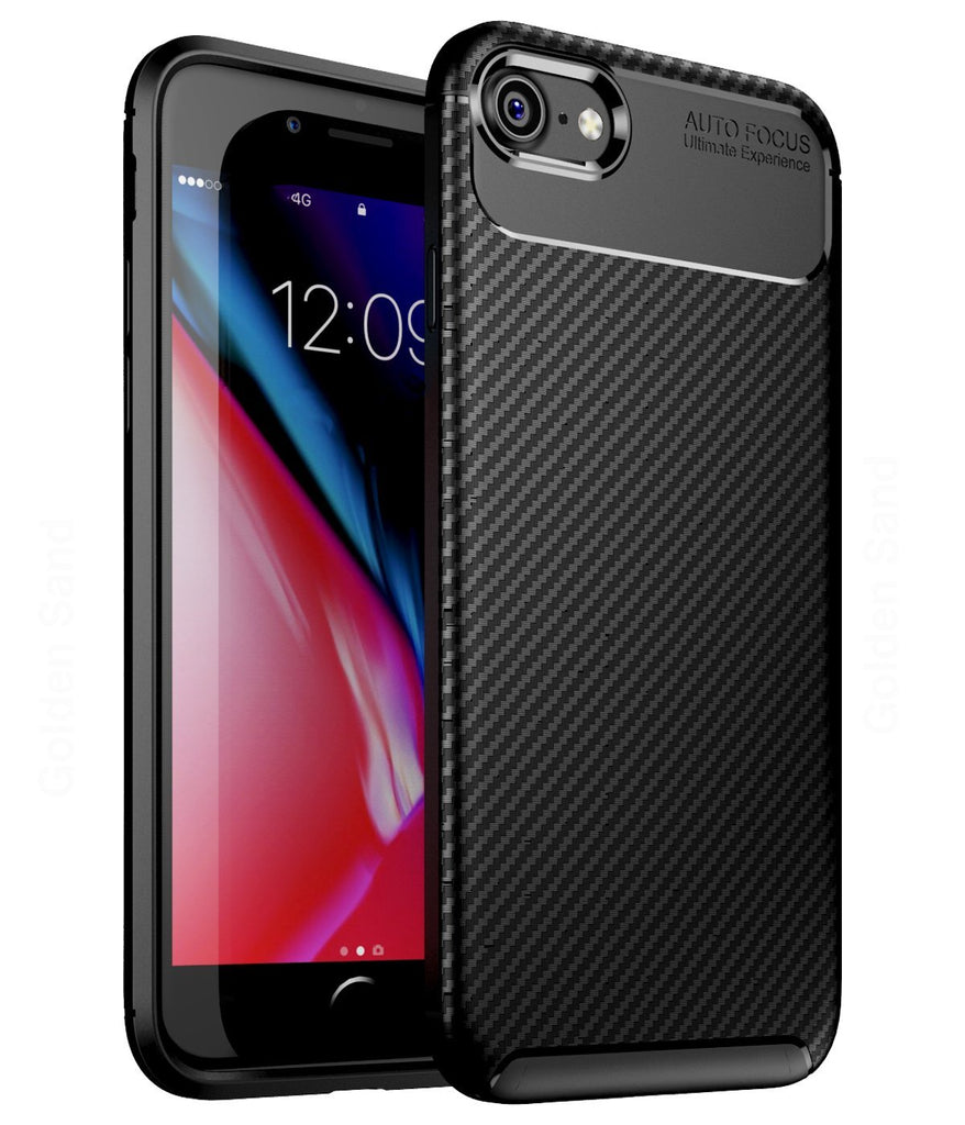 Aramid Fibre Series Shockproof Armor Back Cover for Apple iPhone 7, 8, SE 2020 4.7 inch, Black - Golden Sand