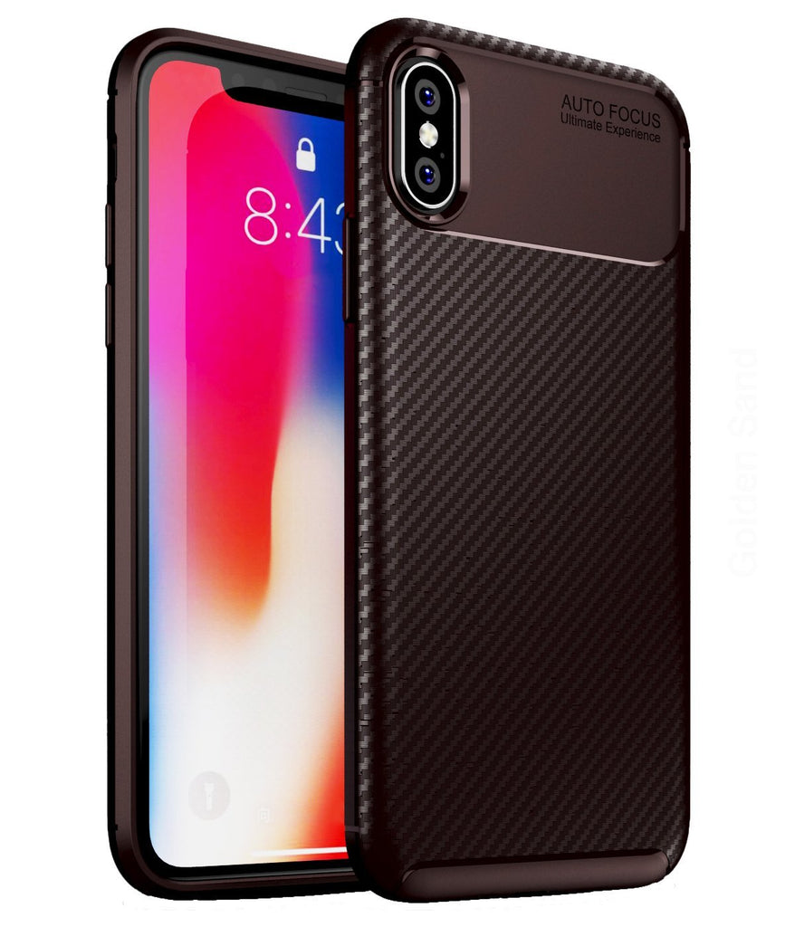 Aramid Fibre Series Shockproof Armor Back Cover for Apple iPhone X, XS 5.8 inch, Brown - Golden Sand